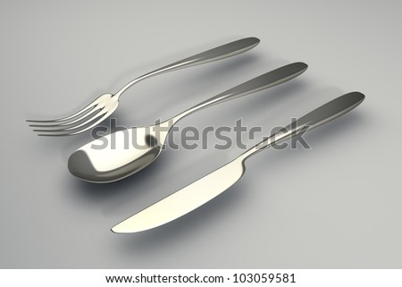 Fork, knife and spoon High resolution