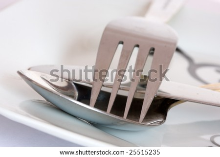 Fork, knife and spoon on a plate