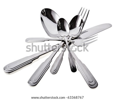 fork , knife and spoon on a white background - stock photo