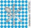 Fork, knife and spoon on checkered tablecloth with clipping path - stock photo