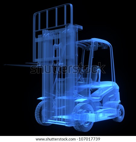 Fork lift truck, front view,  x-ray version - stock photo