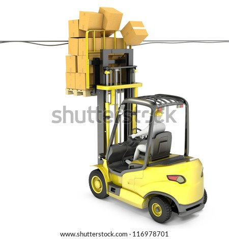 Fork lift truck hits wires, isolated on white background
