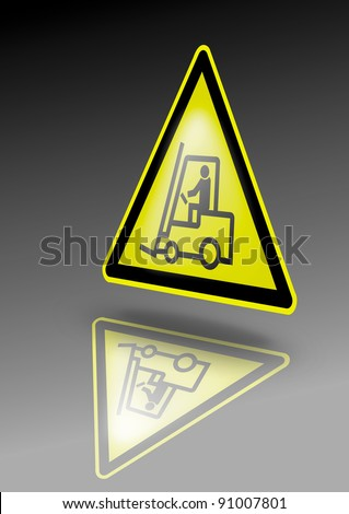 Fork lift warning sign. Forklift symbol on yellow triangle. Illustration for dangerous environment or special risks - stock photo