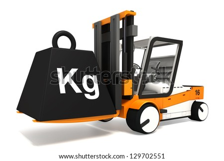 fork lifter lifting black weight with kg word on white background