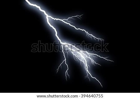 Fork Lightning: lightning bolt, isolated against black ground  - stock photo