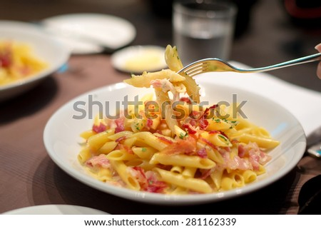 Fork picked up some macaroni crispy bacon with creamy cheese sauce - stock photo