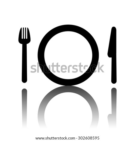Fork, plate and knife  illustration. Cutlery - stock photo