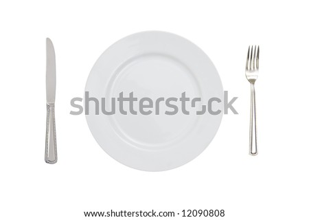 fork plate and knife isolated against white background - stock photo