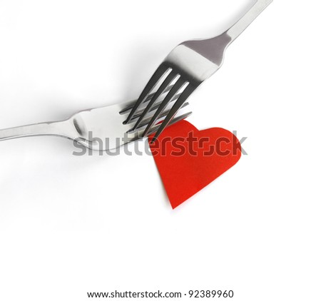 Fork set with heart - stock photo