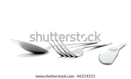 Fork, spoon and knife isolated on white background - stock photo