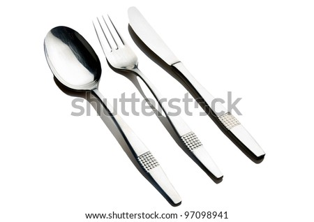 Fork spoon and knife  on white background - stock photo