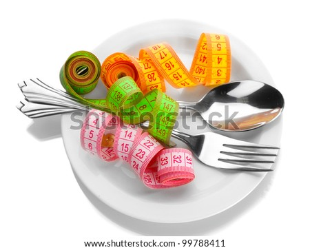Fork, spoon and measuring tapes on plate isolated on white