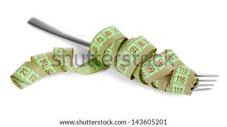 Fork tied measuring tape isolated on white