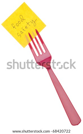 Fork with Food Safety Message Isolated on White with a Clipping Path. - stock photo