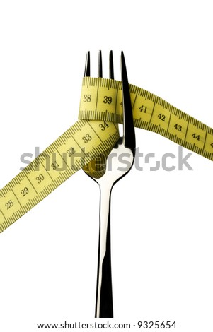 fork with measuring tape isolated on white background