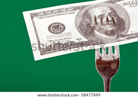 fork with money - stock photo