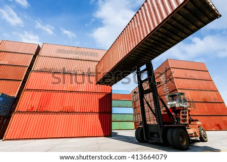 forklift handling container box loading for logistic