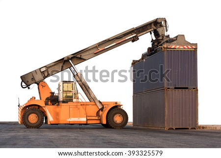 Forklift handling container box loading on white background - stock photo