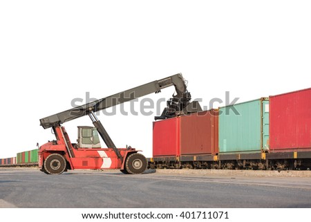 Forklift handling container box loading on white background