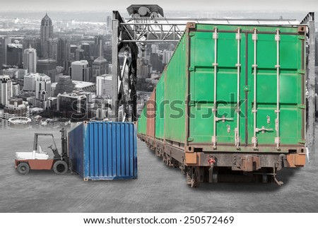 forklift handling container loaded on train transportation to urban - stock photo