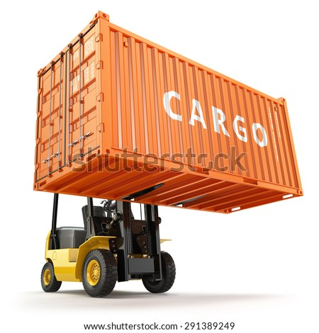Forklift handling the cargo shipping container box. 3d - stock photo