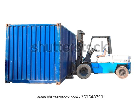 forklift handling the container box isolated on white background with clipping path - stock photo
