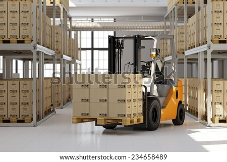 Forklift in warehouse with many boxes on pallet (3D Rendering) - stock photo