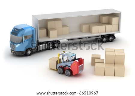 Forklift is loading the truck. Isolated. My own design - stock photo