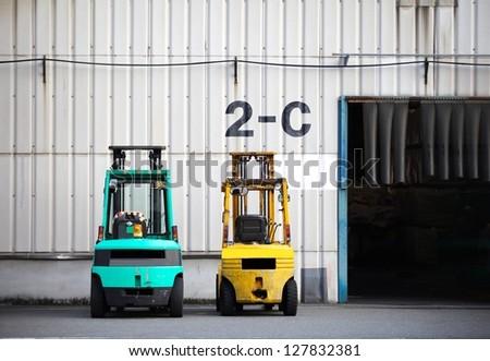 Forklift loader for warehouse - stock photo