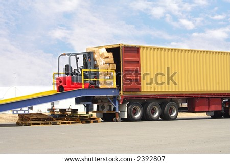 Forklift on loading dock