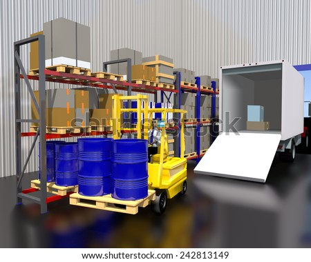 Forklift pallet carries with barrels of stock. - stock photo