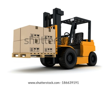 Forklift truck and box (done in 3d)  - stock photo