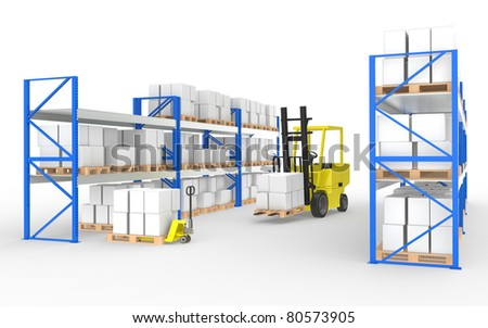 Forklift truck, hand truck and shelves.Part of a Blue and yellow Warehouse and logistics series - stock photo