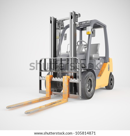Forklift truck isolated - stock photo