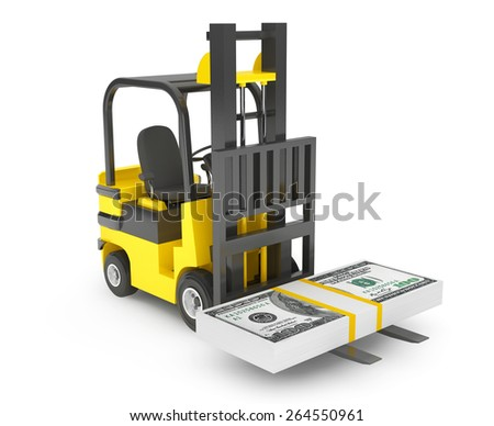 Forklift Truck moves Dollars on a white background - stock photo