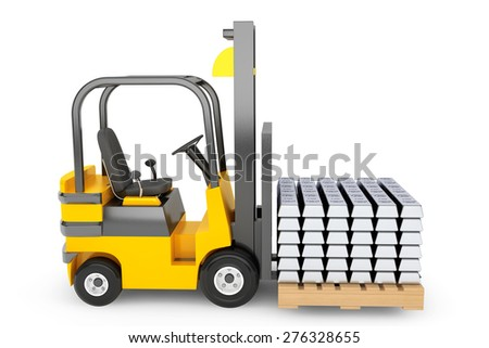 Forklift Truck moves Silver Bars on a white background - stock photo