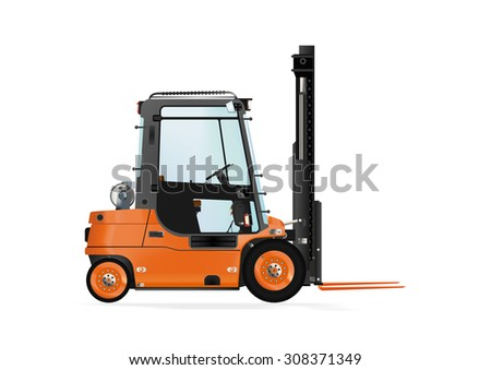 Forklift truck on the white background. Raster illustration. - stock photo