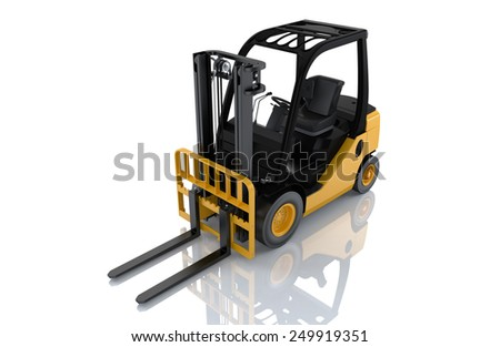 Forklift truck on white isolated background. 3d - stock photo