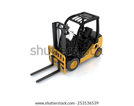 Forklift truck on white isolated background. 3d render - stock photo