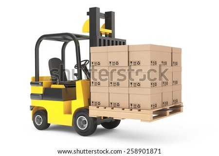 Forklift truck with boxes and pallet on a white background - stock photo