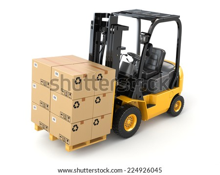 Forklift truck with boxes on pallet. Cargo. 3d - stock photo