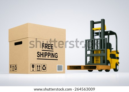 Forklift truck with Free Shipping Box and pallet on a white background - stock photo