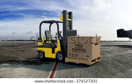 Forklift truck with Free Shipping Box in airport - stock photo