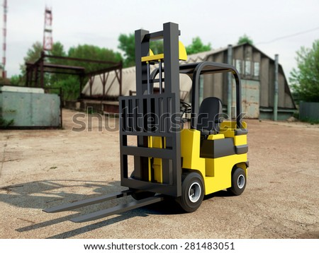 Forklift truck with Free Shipping Box in industrial zone - stock photo