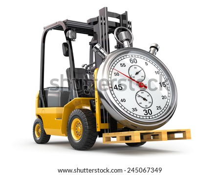 Forklift truck with stopwatch .Express delivery concept. 3d - stock photo