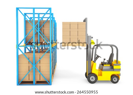 Forklift truck work in warehouse on a white background - stock photo