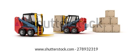 Forklift trucks and goods isolated  - stock photo