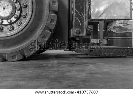Forklift waste due lack of care,waiting to be repaired. - stock photo