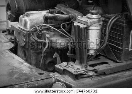 Forklift waste due to lack of care, waiting to be repaired. - stock photo
