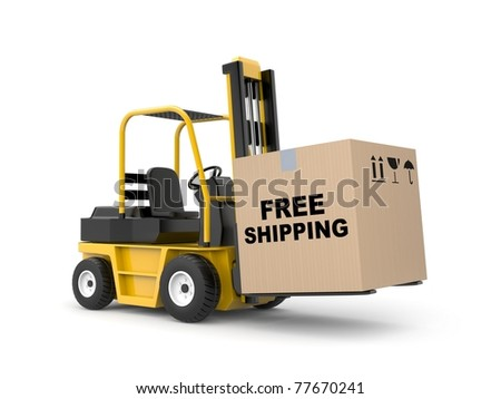 Forklift with cargo - stock photo